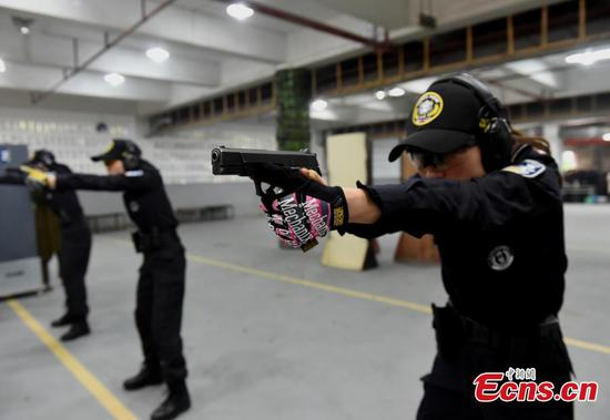 Female special police show skills ahead of International Women's Day