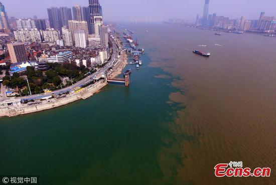 Contrasting rivers converge in central Hubei city