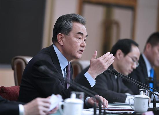 Chinese State Councilor and Foreign Minister Wang Yi attends a press conference on China's foreign policy and relations on the sidelines of the second session of the 13th National People's Congress in Beijing, capital of China, March 8, 2019. (Xinhua/Wang Peng)
