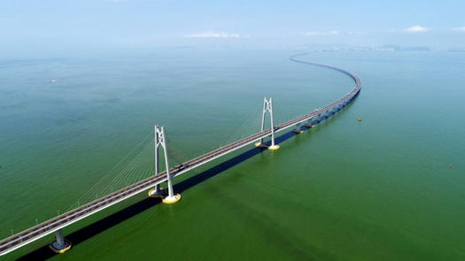 The aerial photo taken on July 11, 2018 shows a bird view of the Hong Kong-Zhuhai-Macao Bridge. (Photo/Xinhua)