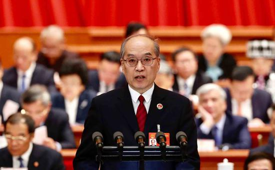 Zhang Jun, procurator-general of the Supreme People's Procuratorate, delivers a work report of the Supreme People's Procuratorate at a plenary meeting of the NPC in Beijing on March 12, 2019.(Photo by Feng Yongbin/chinadaily.com.cn)