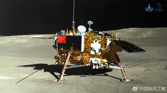 Photo taken by the lander of the Chang'e-4 probe on Jan. 11, 2019 shows the rover Yutu-2 (Jade Rabbit-2). (Xinhua/China National Space Administration)