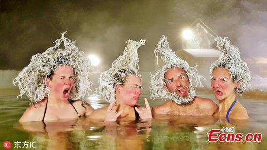 Crazy hair freezing contest in Canada