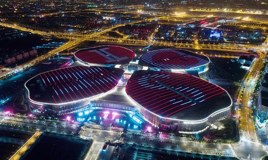 Aerial photo taken on Oct. 21, 2018 shows the National Exhibition and Convention Center (Shanghai), the main venue of the first China International Import Expo (CIIE), in Shanghai, east China. (Xinhua/Ding Ting)