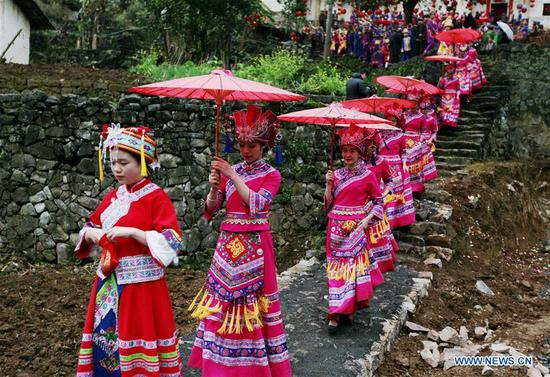 Traditional wedding ceremony of Mulao ethnic group held in China's Guangxi