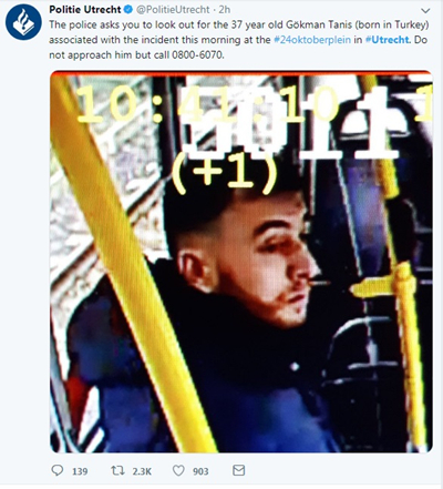 This internet grab from the twitter of Utrecht Police shows a man who is suspected in connection with the Utrecht shooting in the Netherlands, March 18, 2019. A man opened fire in a tram at the 24 Oktoberplein square in Utrecht, causing 3 dead and 9 other wounded, according to Utrecht mayor. (Xinhua)