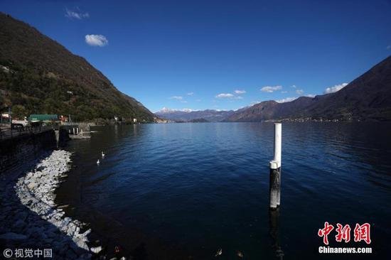 Water declines in Italy's Lake Como