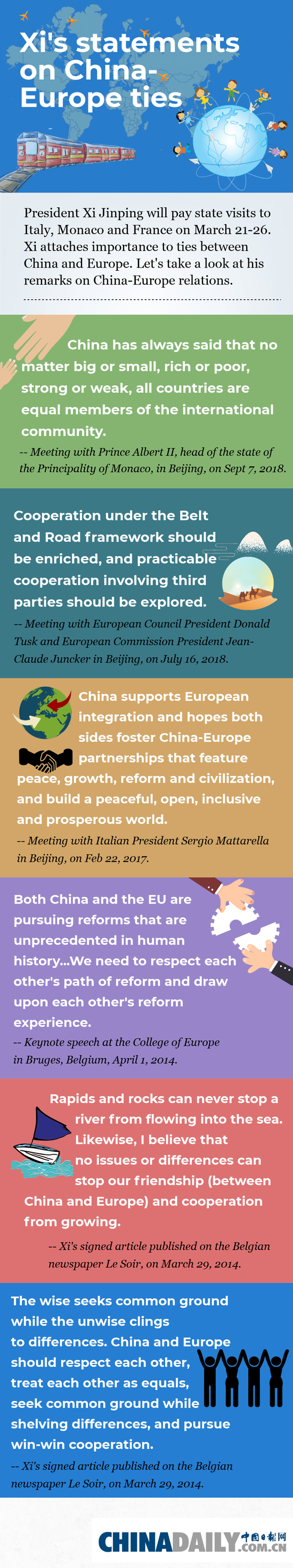 Xi's statements on China-Europe ties