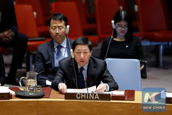 File Photo: Wu Haitao (front), Chinese deputy permanent representative to the United Nations, addresses a Security Council meeting on the humanitarian situation in Syria, at the UN headquarters in New York, Feb. 26, 2019. (Xinhua/Li Muzi)