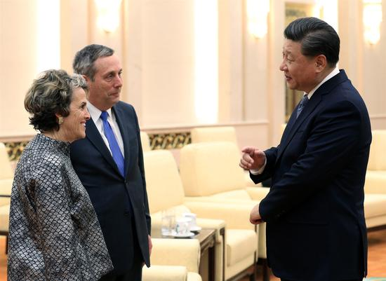President Xi Jinping meets Harvard University President Lawrence Bacow and wife, Adele, at the Great Hall of the People in Beijing on Wednesday. (Photo by Wu Zhiyi/China Daily)