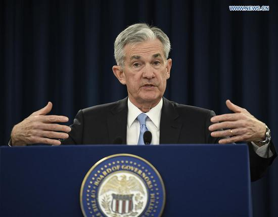 U.S. Federal Reserve Chairman Jerome Powell speaks during a press conference in Washington D.C., the United States, on March 20, 2019. The U.S. Federal Reserve on Wednesday left interest rates unchanged after concluding a two-day policy meeting, in a move that met market expectations and reflected the central bank's patient approach regarding monetary policy changes. (Xinhua/Liu Jie)