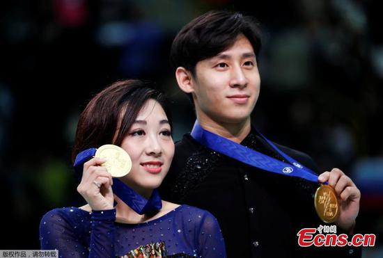 Chinese figure skating pair wins Worlds title