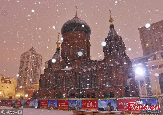 Beautiful St. Sophia Cathedral in snow