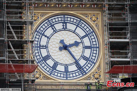 Big Ben's famous clock face painted blue