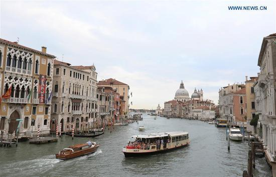 Photo taken on Sept. 8, 2018 shows the Canal Grande in Venice, Italy. (Xinhua/Cheng Tingting)
