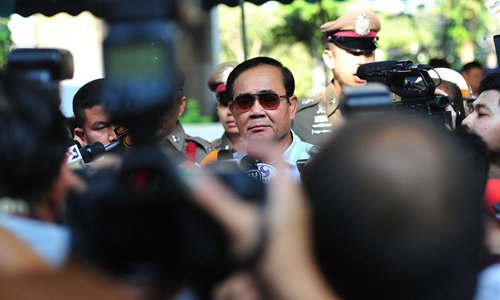 Thai Prime Minister Prayut Chan-o-cha is seen at a polling station in Bangkok, Thailand, on Sunday. (Photo/Xinhua)