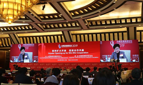 Carrie Lam Cheng Yuet-ngor, chief executive of the Hong Kong Special Administrative Region, speaks at a session at the annual China Development Forum in Beijing on Monday. (Photo: Li Qiaoyi/GT)