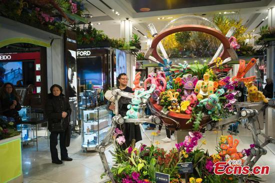 在纽约梅西百货在先驱广场旗舰店举行的花展