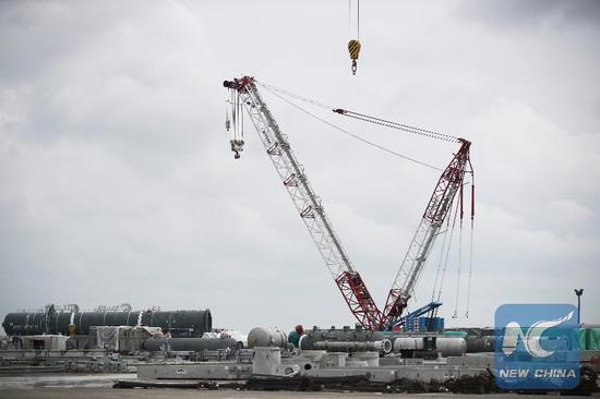 Photo taken on Feb. 28, 2019 shows the construction site of Yuhuang's methanol project in St. James Parish, Louisiana, the United States. (Xinhua/Wang Ying)