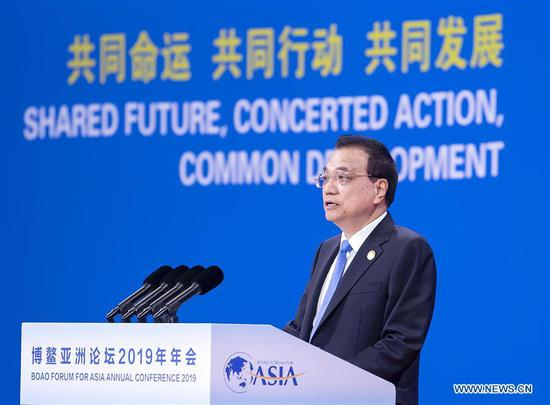 Li Keqiang delivers keynote speech at BFA opening plenary