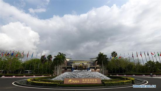 Photo taken on March 25, 2019 shows the International Conference Center in Boao Town of Qionghai City, south China's Hainan Province.  (Xinhua/Yang Guanyu)