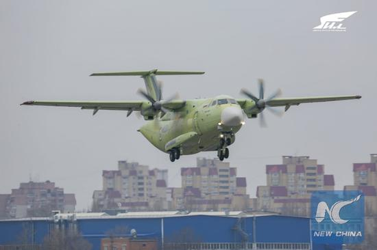 Russian military transport plane Ilyushin Il-112V conducts its first flight in Voronezh, Russia on March 30. 2019. (Photo provided by Ilyushin Aviation Complex)