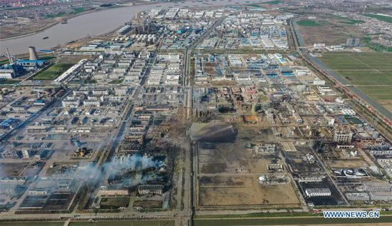 Aerial photo taken on March 22, 2019 shows the site of an explosion at a chemical industrial park in Xiangshui County of Yancheng, east China's Jiangsu Province. (Xinhua/Li Bo)