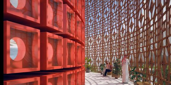 The interior of the architectural design of the China Pavilion at Expo 2020 Dubai. (Photo/China Plus)
