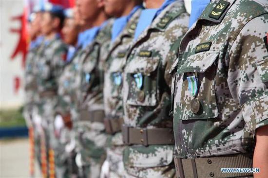 中国驻黎巴嫩维和部队获得了联合国奖章