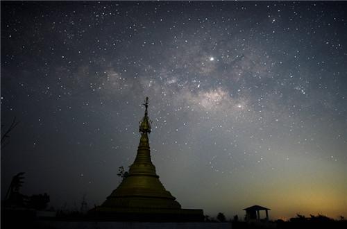 Milky Way shines upon Myanmar town
