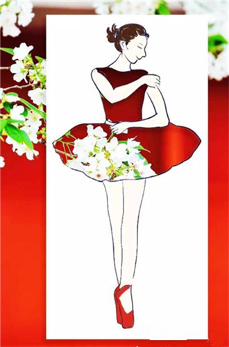 Student's design depicts spring beauty in dresses