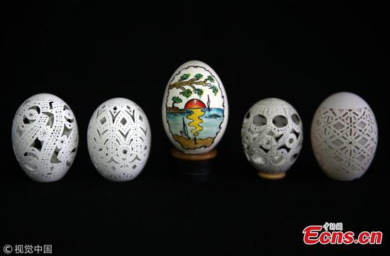 Carved egg art in Turkey