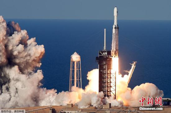 SpaceX's Falcon Heavy rocket launches on first commercial flight