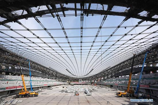 Venue for speed skating events at 2022 Winter Olympic Games under construction in Beijing