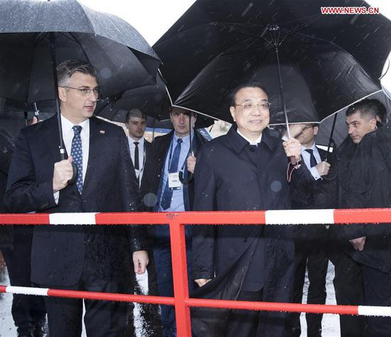 Chinese, Croatian PMs visit Peljesac Bridge project