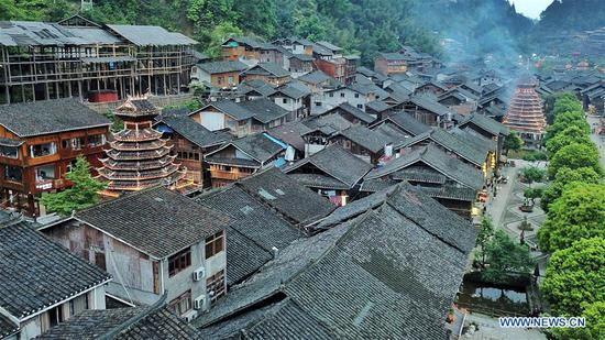 Aerial view of Dong village of Zhaoxing in Guizhou