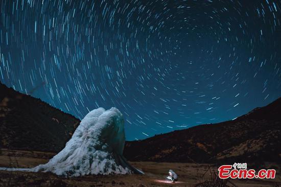 Stars blaze over Ganden Sumtseling Monastery