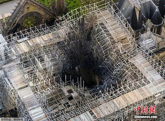Aftermath of Notre Dame fire in aerial