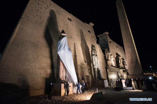People attend unveiling of colossus of ancient Egyptian King Ramses II in Egypt