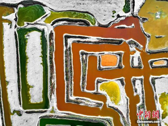 Aerial view of colorful salt lake in Yuncheng, Shanxi