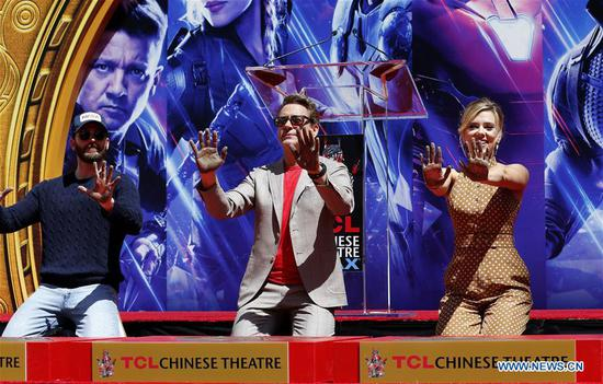 Print ceremony of cast of 'Avengers: Endgame' held in LA