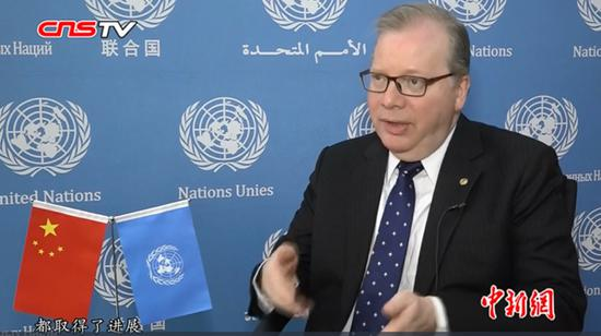 UN official Nicholas Rosellini receives interview with China News Service in Beijing, April 24, 2019. (Photo/Video Screenshot on CNSTV)