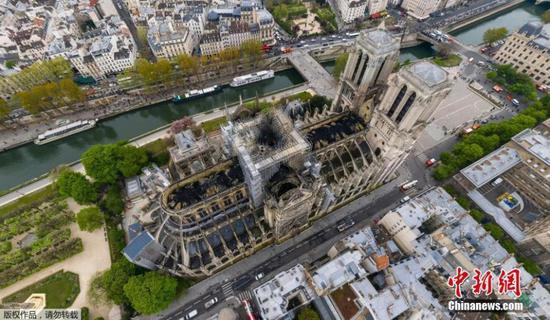 Aerial image shows the tragic extent of the damage caused to Paris' iconic Notre Dame Cathedral, ravaged by a massive blaze on Monday night, April 17, 2019. (Photo/Agencies)