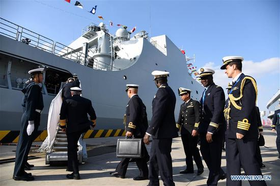 Foreign delegates visit vessels of Chinese PLA Navy in China's Shandong