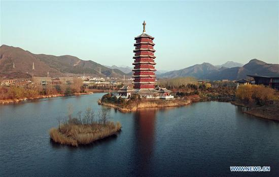 Aerial photo taken on April 4, 2019 shows the scenery of Yanqi Lake in Beijing, capital of China. The second Belt and Road Forum for International Cooperation is to be held on April 25-27 in Beijing. (Xinhua/Cai Yang)
