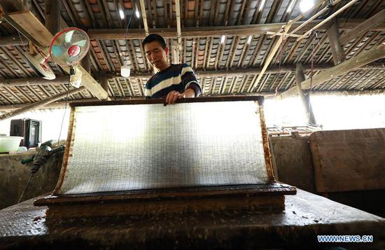 Papermaker in Danzhai County, SW China's Guizhou
