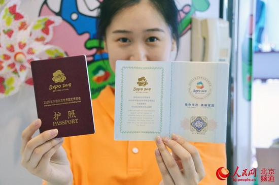 Photo shows the souvenir passport of the Beijing Expo 2019. (Photo/People's Daily Online)