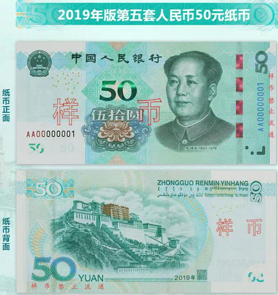 Sample banknotes of 50 yuan. (Photo/The Central Bank website)