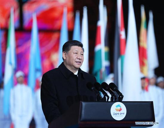 Chinese President Xi Jinping delivers a speech at the opening ceremony of the International Horticultural Exhibition 2019 Beijing in Yanqing District of Beijing, capital of China, April 28, 2019. (Xinhua/Ju Peng)