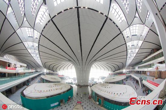 Interior design near complete at new Beijing Daxing International Airport